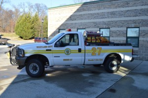 Brush 27 can transport two responders to an incident. Its pickup truck size makes it ideal for navigating through confined areas or across terrain that an engine cannot safely traverse.